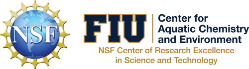 Logos of the National Science Foundation and FIU's NSF Center of Research Excellence in Science and Technology (CREST) Center for Aquatic Chemistry and Environment
